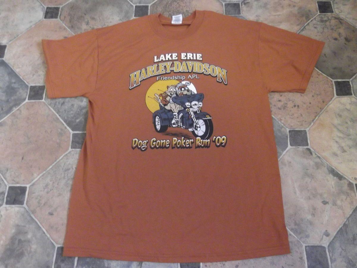 Harley Davidson T Shirt Jerzees Large Lake Erie HD Avon Ohio