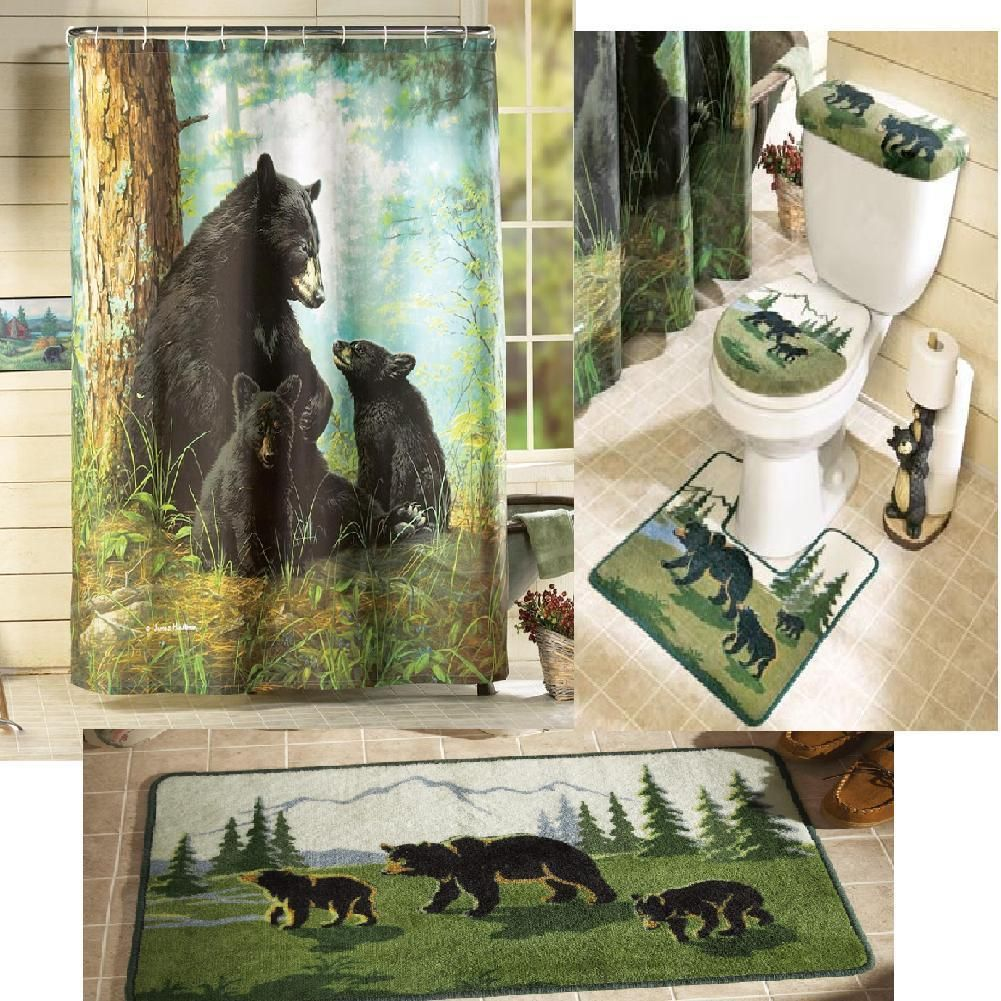 New 5 Pc Bear Bath Rug Set Commode Toilet Seat Cover Rustic Cabin