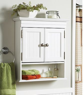 White Cottage Style Bathroom Wall Cabinet Storage Shelf