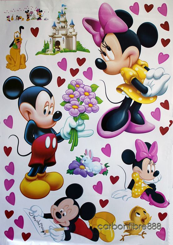 Large Mickey Mouse Love Minnie Wall Stickers Childrens Nursery Girls
