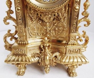 French S.Marti gilt bronze gothic 8 day bell strike mantel clock