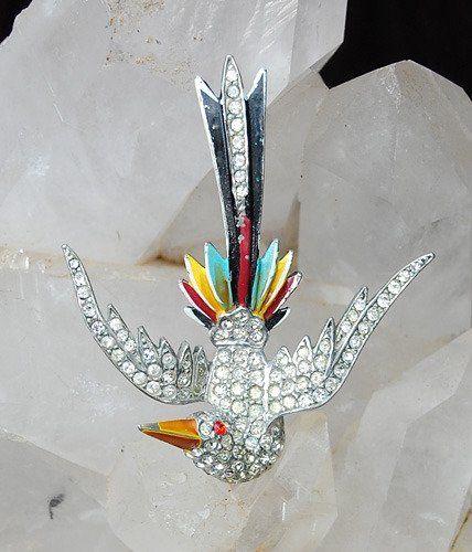 Art Deco Rhinestone Enamel Flying Bird Brooch Pin Vtg Antique