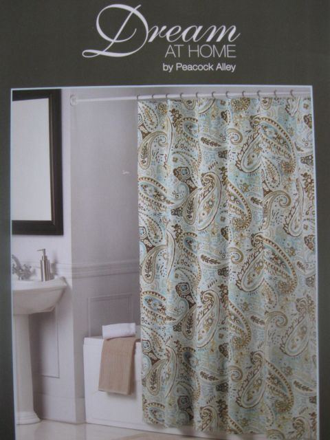 PEACOCK ALLEY PAISLEY Blue Brown Tan Beige Fabric Shower Curtain NEW