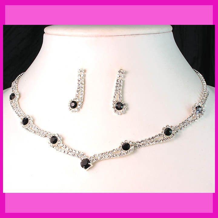 Party Bridal Bridesmaids Black Diamante Crystals Necklace Earrings Set