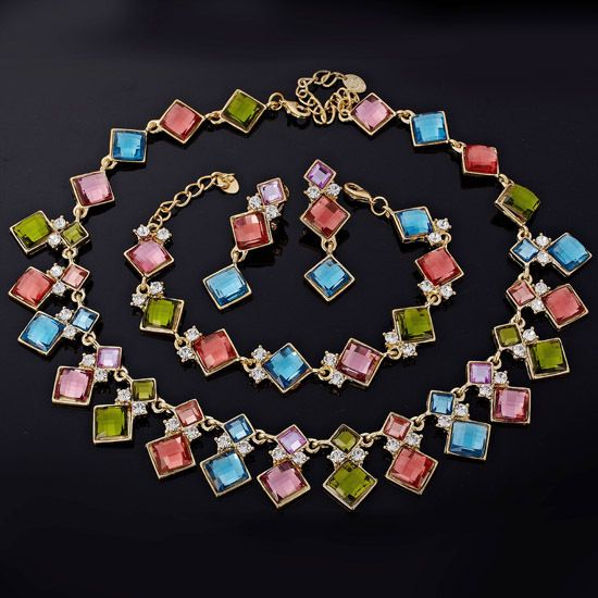 WEDDING JEWELRY SET NECKLACE EARRINGS GOLD PLATED BRACELET SQUARE CUT
