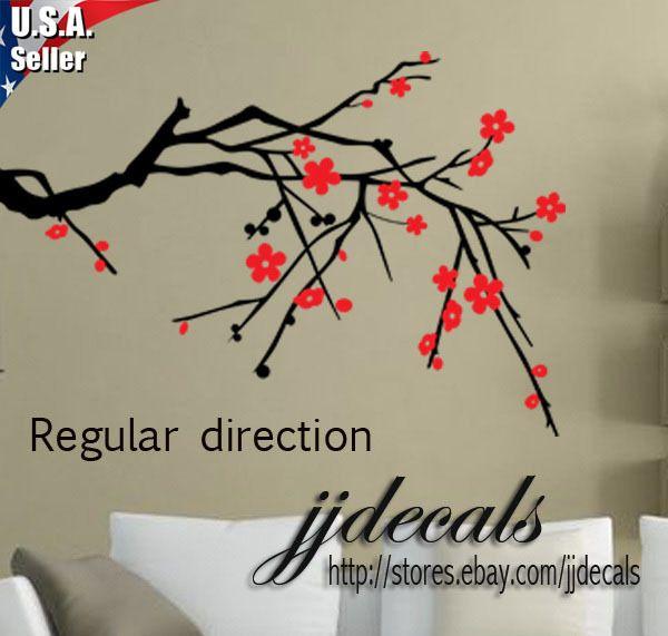 Cherry Blossom Tree Branch Wall Art Decor Removable Vinyl Decal
