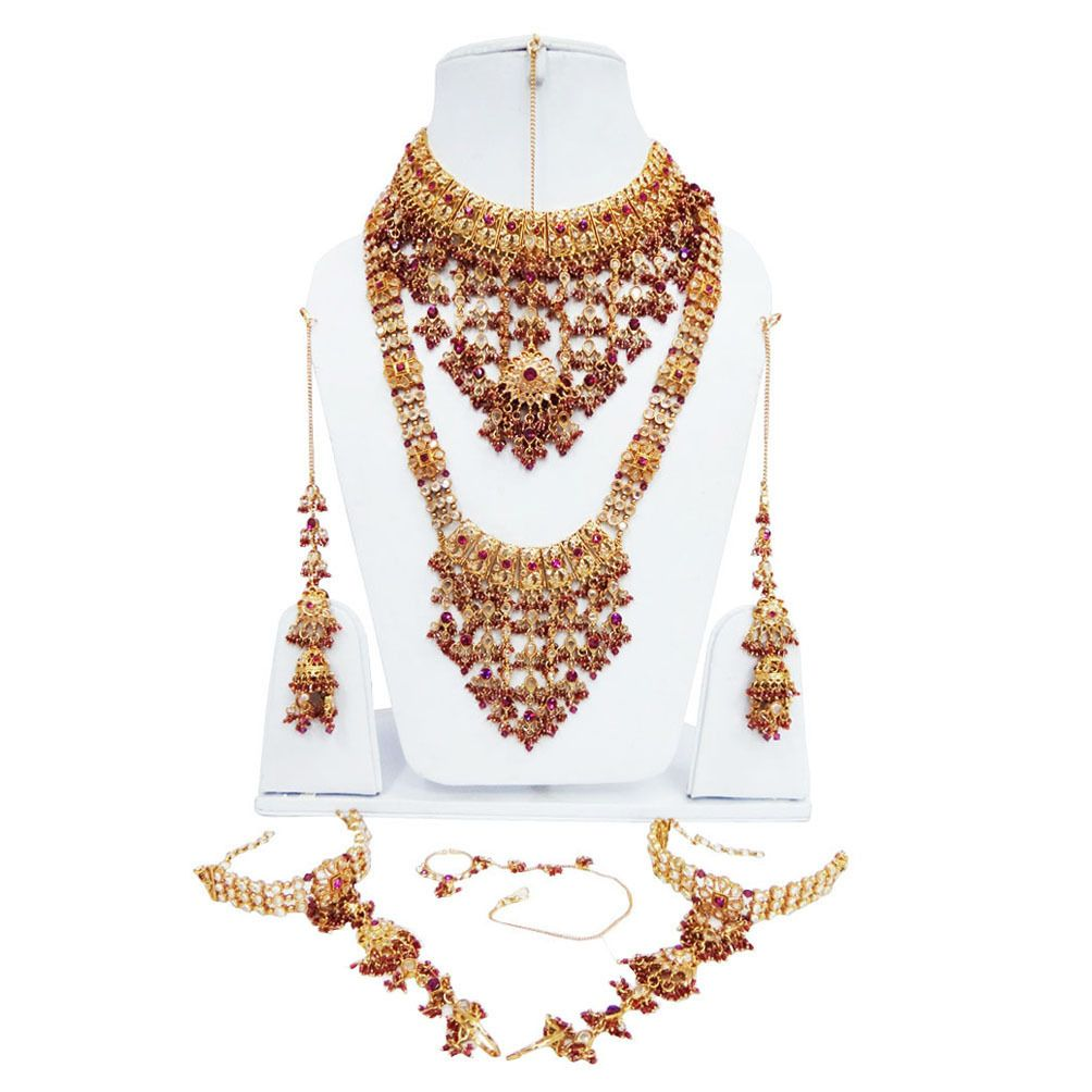 Traditional Pink Gold CZ Bridal Necklace Bollywood Wedding Jewelry Set