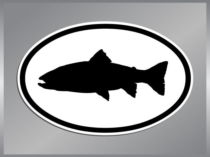 Brook Trout Silhouette Euro Vinyl Decal Fish Sticker