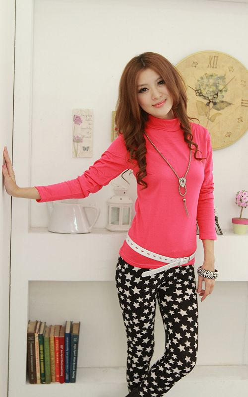 Womens Casual Candy Colours Long Sleeve High Neck T Shirts Tops
