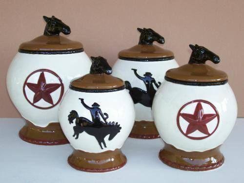 New western canister set horse cowboy star kitchen decor storage Horse design kitchen accessories