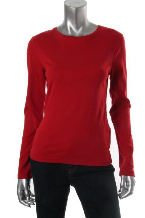 Jones New York New Red Long Sleeve Crew Neck T Shirt Top Blouse M BHFO