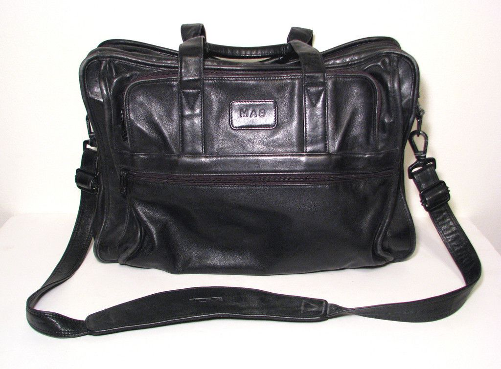 Tumi All Leather Black Messenger Bag Soft Briefcase 17