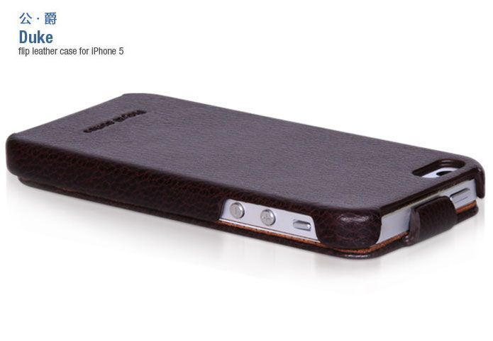 Hoco Duke iPhone 5 Genuine Leather Flip Case Cover Coffee