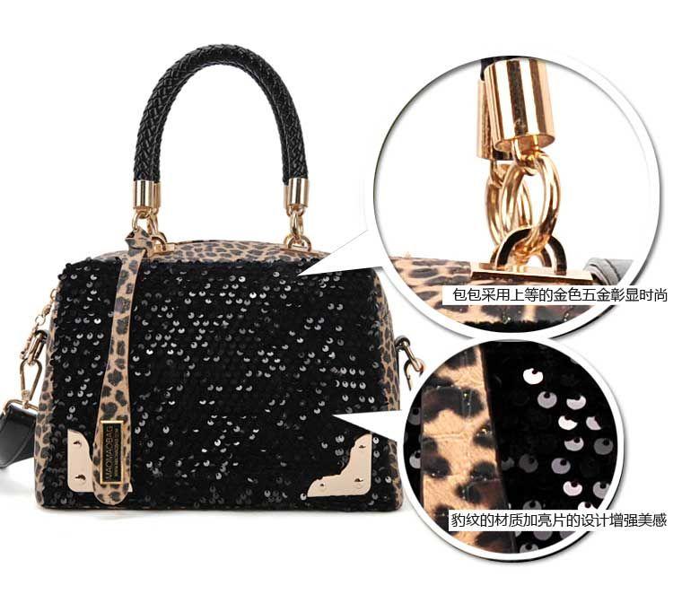 Tote PU Clutch Lady Fashion Sexy Cool Lux Punk Leopard Sequin