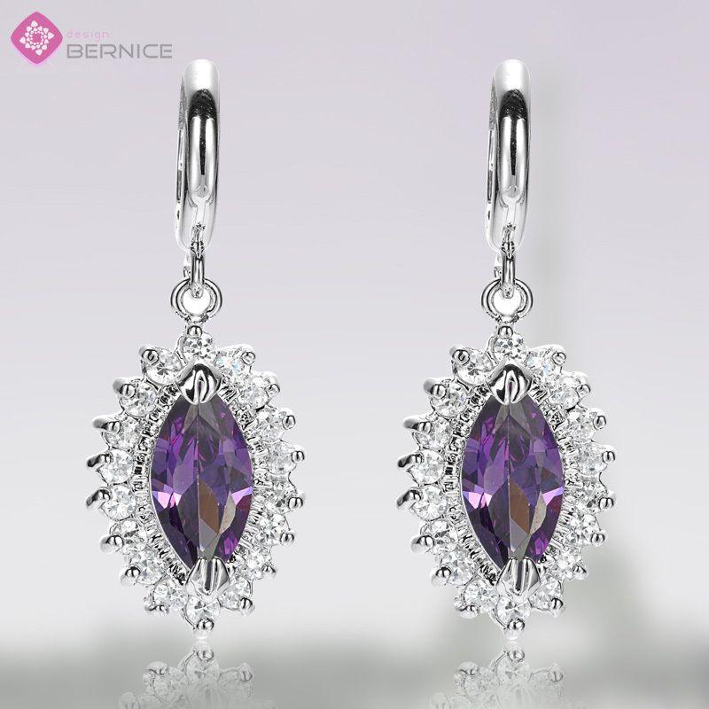 Fashion Lady Jewelry Purple Amethyst White Gold GP Hoop Drop Earrings