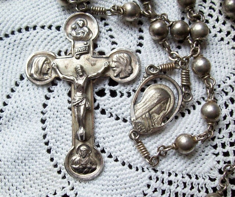 Antique CREED STERLING Large CRUCIFIX Rosary Beads ESTATE JEWELRY 39 9