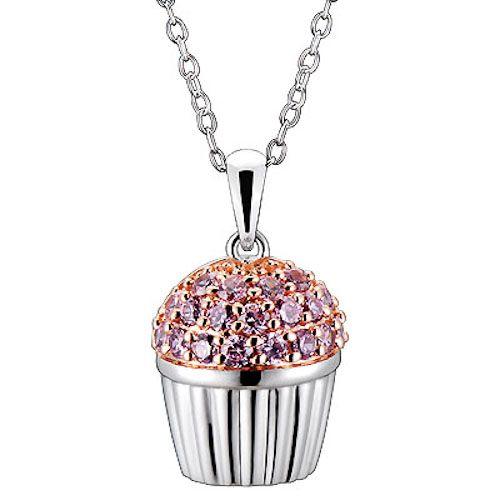 Pink CZ Cubic Zirconia Cupcake Charm Pendant Necklace 18