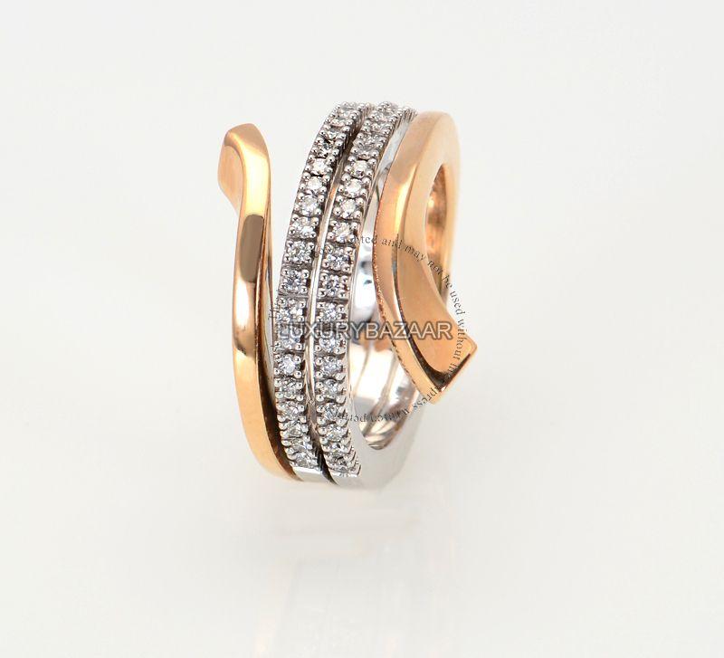 Damiani 18K Rose White Gold Diamond Split Band Ring