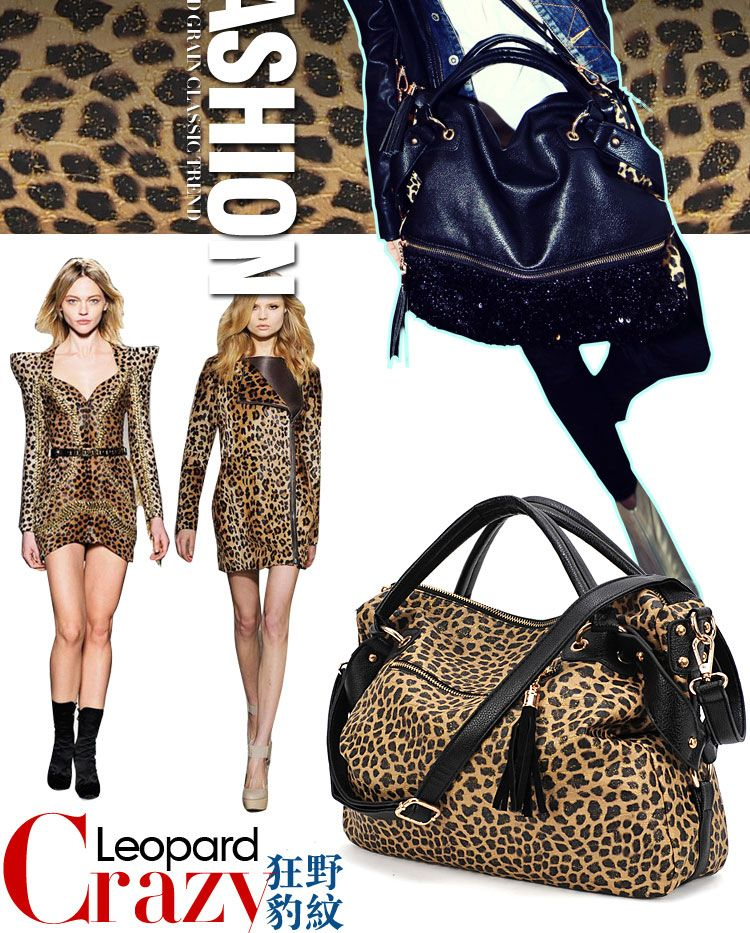 PU Clutch Lady Fashion Sexy Cool Lux Punk Leopard Sequin Gift