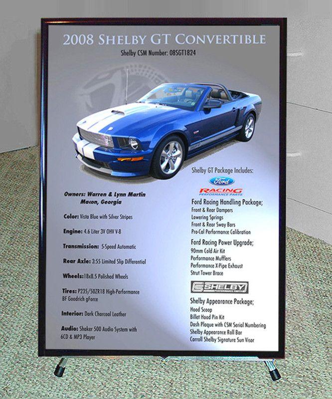 Car Show Display Sign Reader Board Large Custom Art