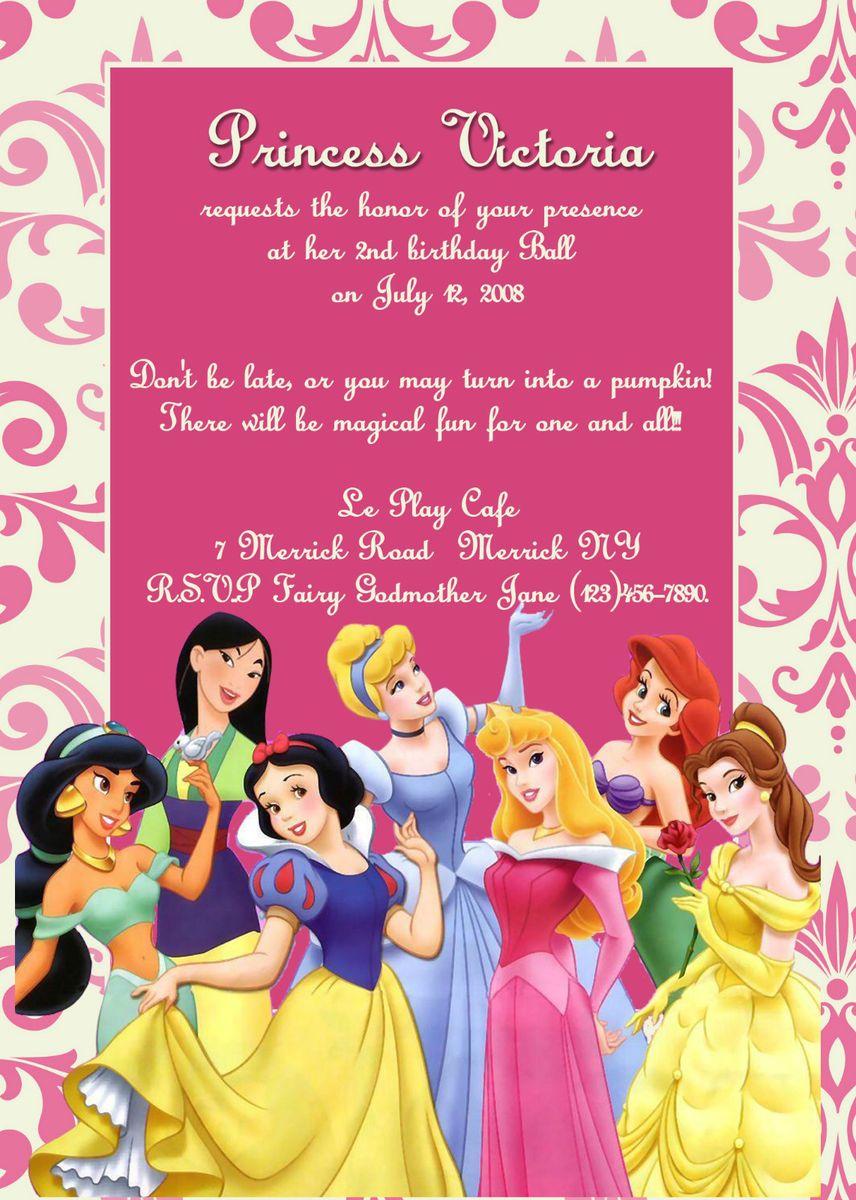 Disney Princess Birthday Party Invitation You Print
