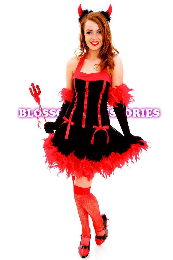 G56 Red Devil Ladies Horror Fancy Dress Up Party Halloween Costume Outfit Horns