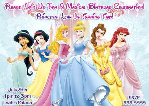 Disney Princess Birthday Party Invitations and Favors