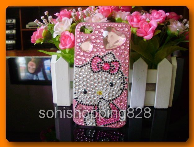 Diamond Hello Kitty Bling Crystal Case Cover for iPhone 4 4G 4S D1