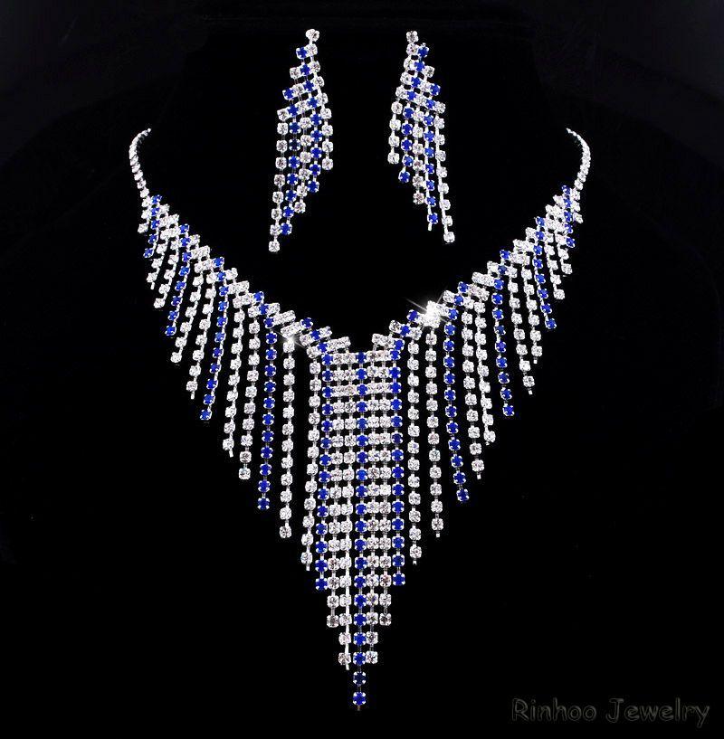Necklace Earrings Set Rhinestone Crystal Clear Tassels Wedding Bridal