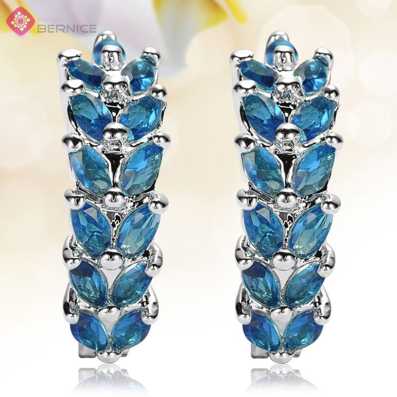 Jewelry Oval Cut Blue Sapphire White Gold Plated Earrings Earings