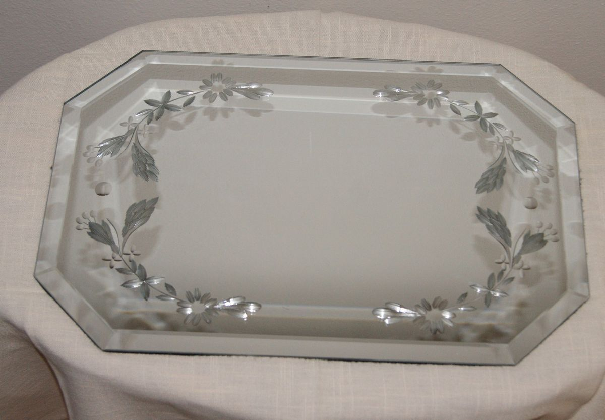 Vintage Large 18 Beveled Etched Table Top Mirror Art Deco Mid Century
