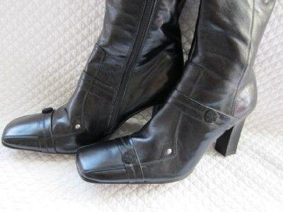 Henry Ferrera High Heel Black Leather Zip Campus Boot Wrap Around