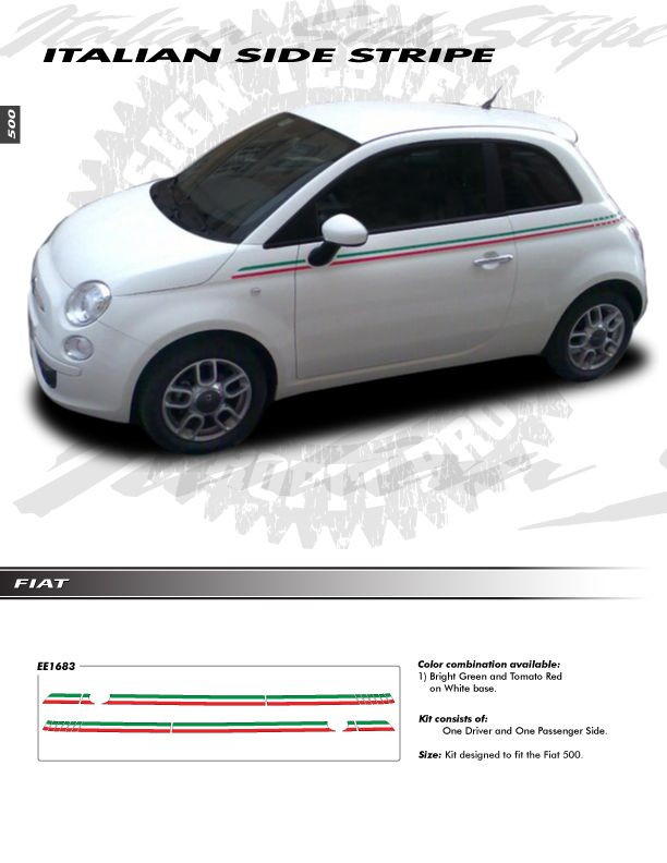 Fiat 500 All Models Graphics Kit 1683 Decals Pin Stripes Trim Emblems