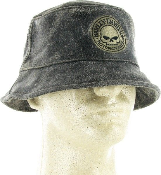Harley Davidson Distressed Leather Bucket Hat with Harley Skull
