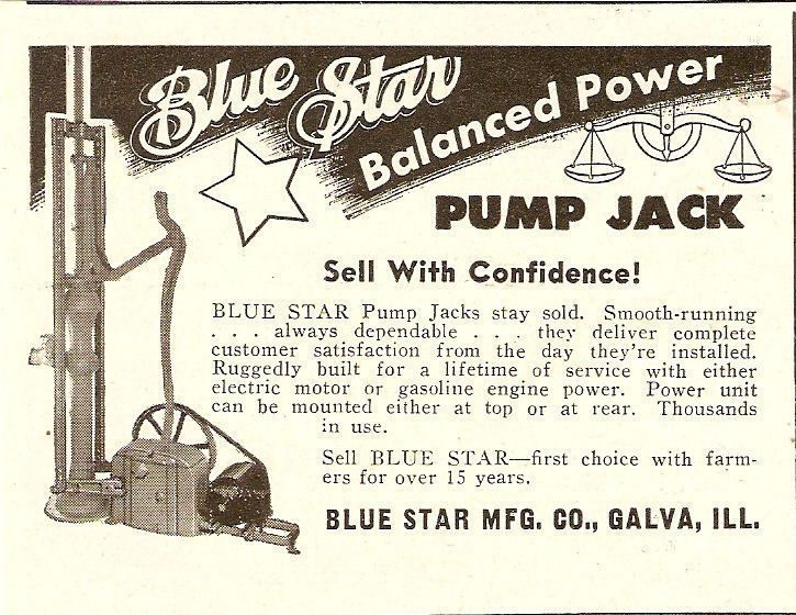 Blue Star Pump Jack Water Well Pump Outfit Ad Galva IL Illinois