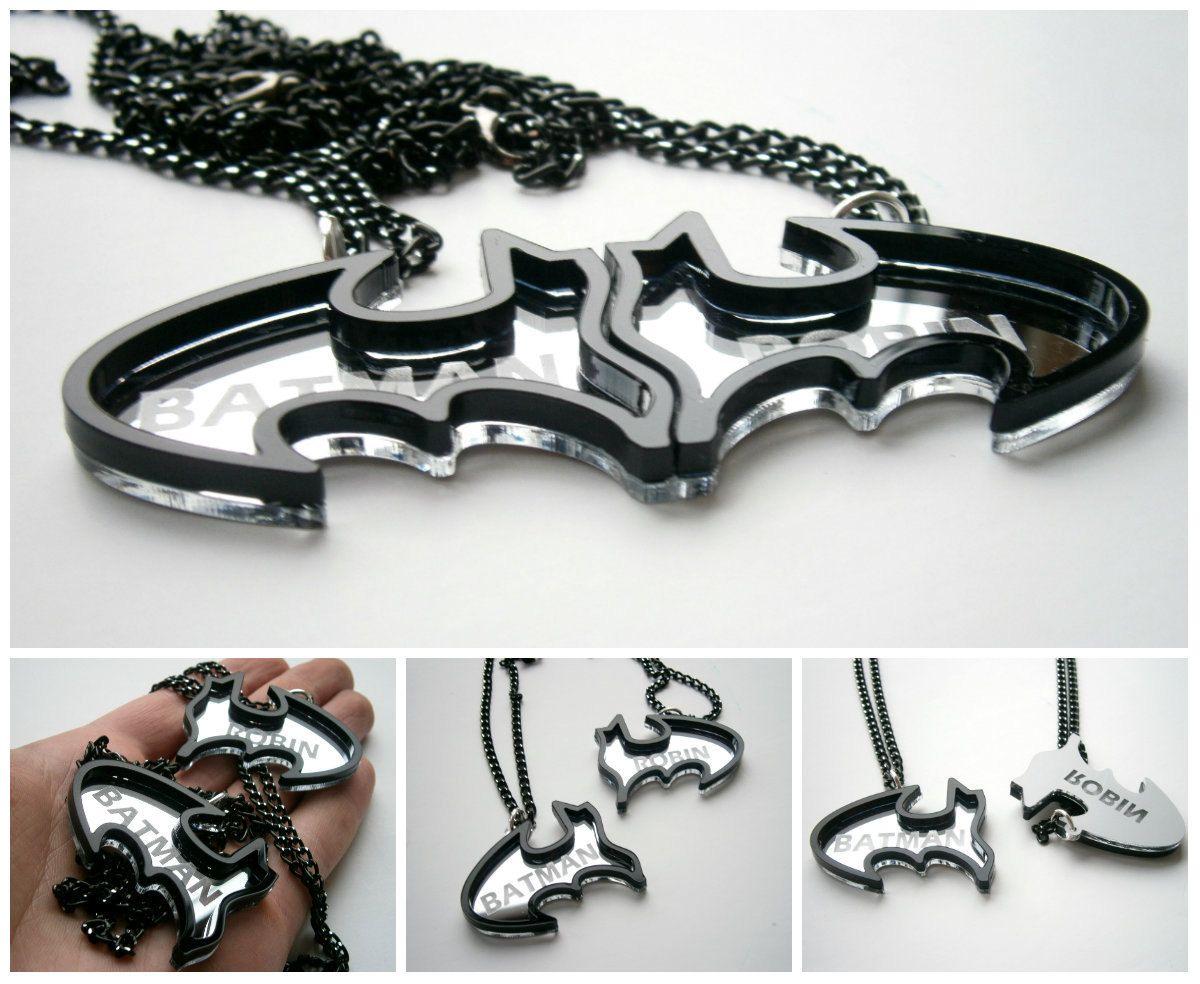 Best Friends Batman Necklaces Friendship Necklaces Engraved Batman and