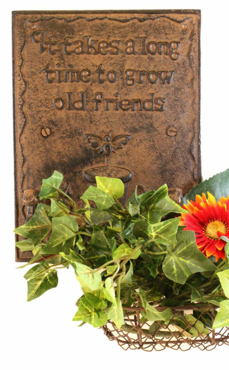 Friendship Garden Plaque with Hooks Inspirational Sign Hanging Decor