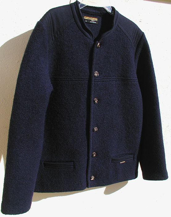 Mens Geiger Tyrol Boiled Navy Wool Austrian Jacket Coat US 44 46 E 54