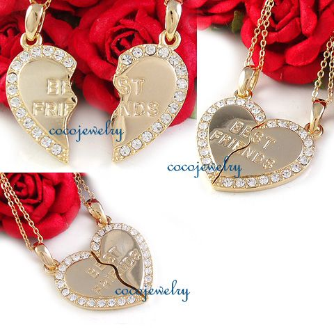 Friends BFF Heart Two Pendant Necklace Gold Tone Clear Crystals