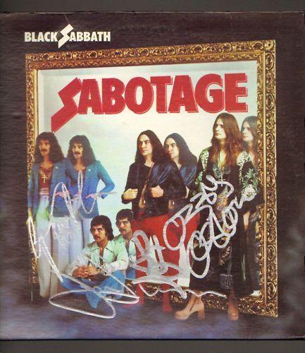 Signed Sabotage LP Ozzy Osbourne Tony Iommi Geezer Ward COA