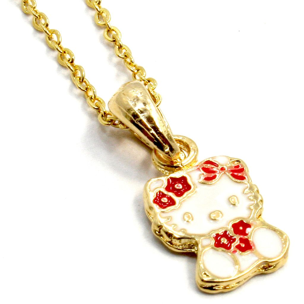 Gold 18K GF Baby Girl Childs Kids Red Flower Hello Kitty Charm Chain