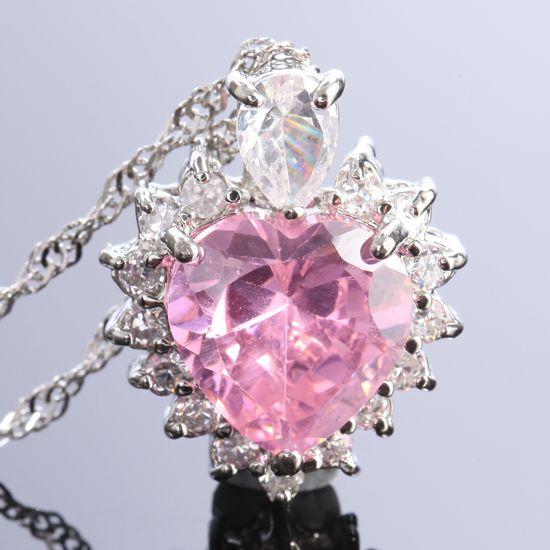 wedding jewelry heart nib pink sapphire white gold plated pendant free
