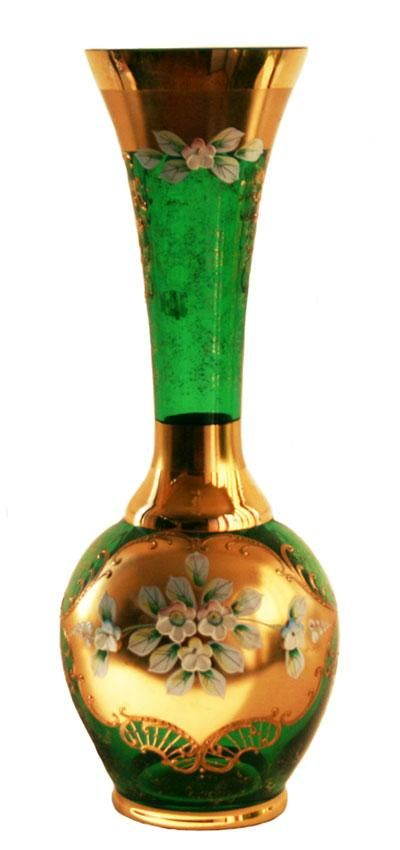 Czech Vintage Emerald Green Glass Vase Painted Gold 12
