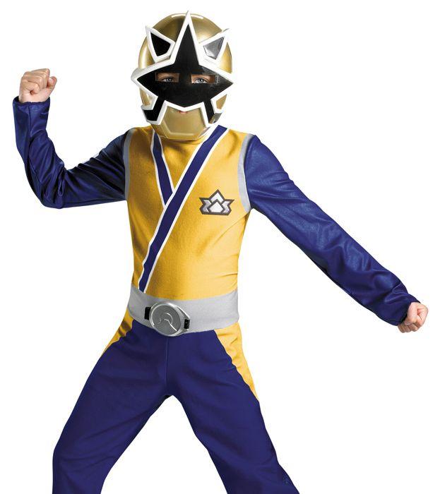 Kids Power Rangers Samurai Gold Ranger Halloween Fancy Dress Costume