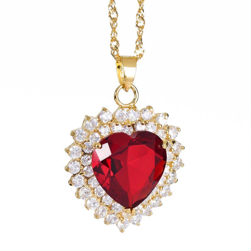 Fashion Lady Jewelry Ruby Topaz Rhinestones Yellow Gold Plated GP