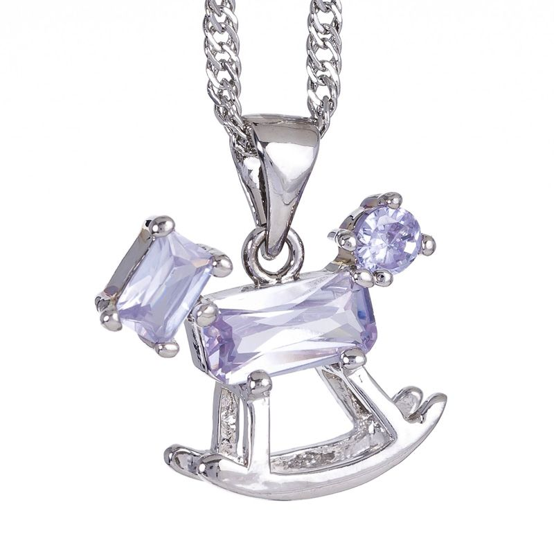Fashion Lady Jewelry Tanzanite White Gold Plated Horse Pendant