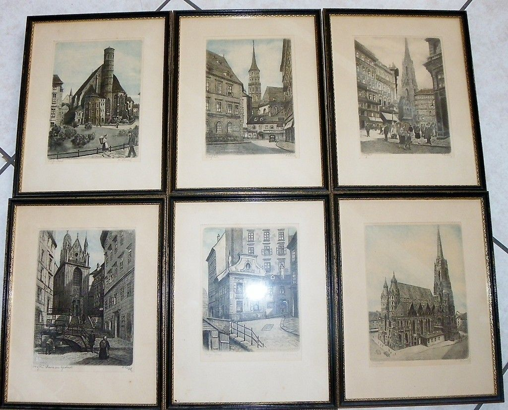 Hans H. LEISCH Austrian 20th century Collection six (6) framed color