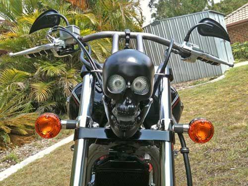 Harley Davidson Skull Headlight Black Matte Coated