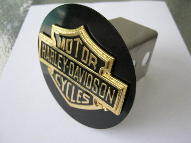 Harley Davidson Emblem Hitch Receiver Cover Gold 3D Bar and Sheild