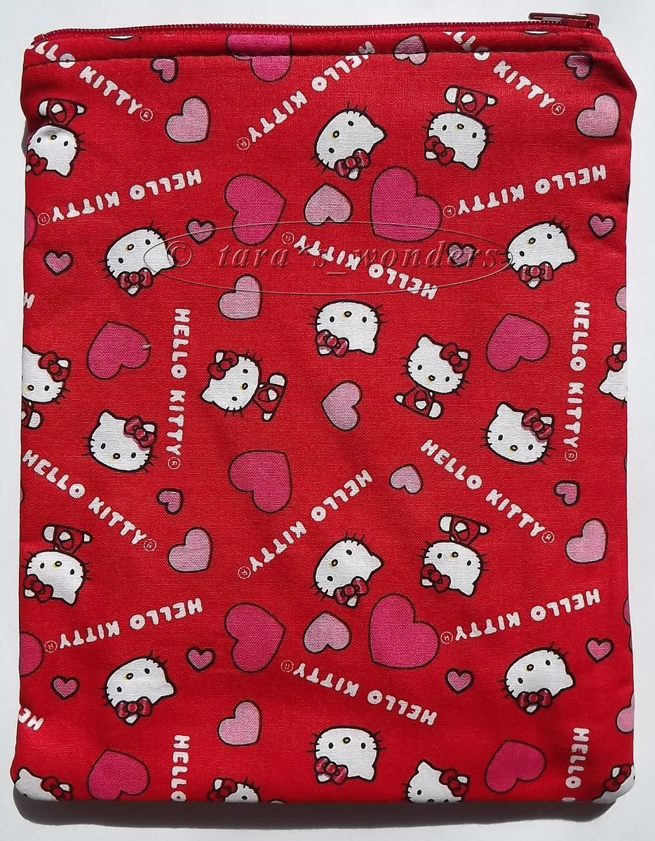 Carry All Pouch Makeup Bag or Kindle Tablet Case   Hello Kitty w Heart